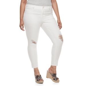 Plus Size Jennifer Lopez Destructed Super Skinny Jeans
